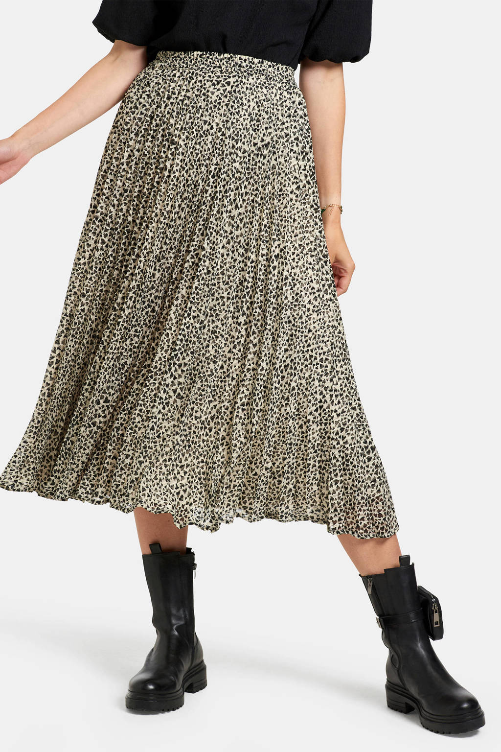 Eksept by Shoeby rok met all over print beige/zwart, Beige/zwart