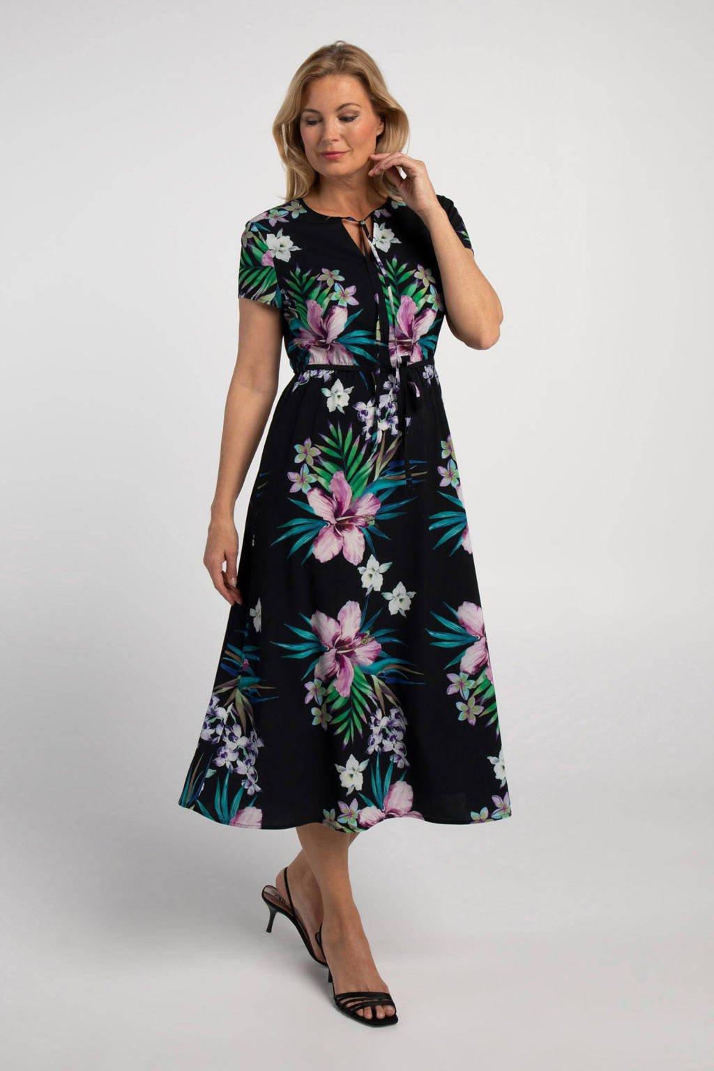 PROMISS gebloemde maxi jurk donkerblauw/multi, Donkerblauw/multi