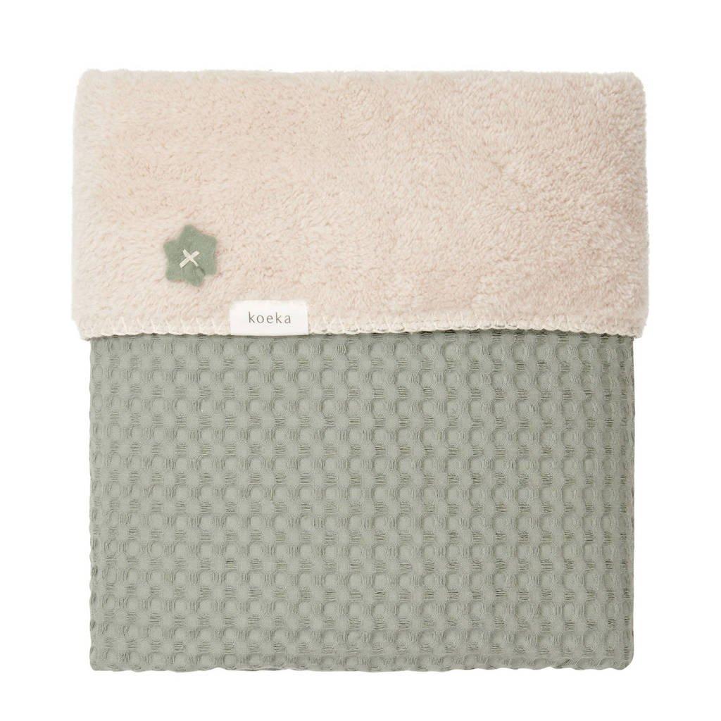 Koeka Oslo baby ledikantdeken teddy 100x150 cm Shadow Green/Soft Sand, Groen