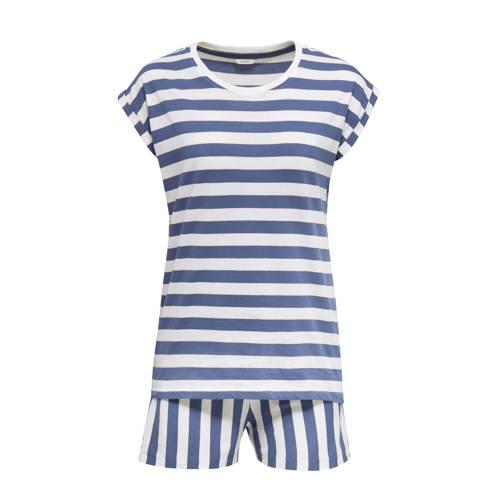 ESPRIT Women Bodywear gestreepte shortama blauw/wi