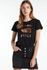 G-Star RAW T-shirt van biologisch katoen blauw/goud, Blauw/goud