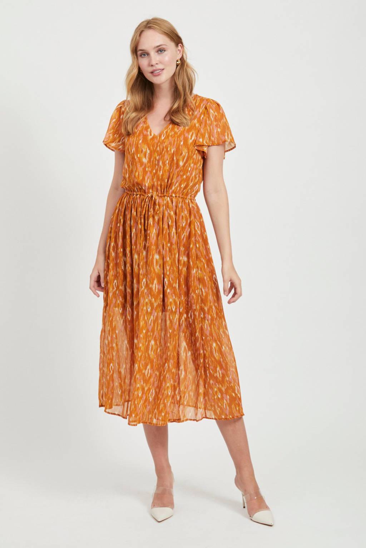 VILA jurk met all over print oranje, Oranje