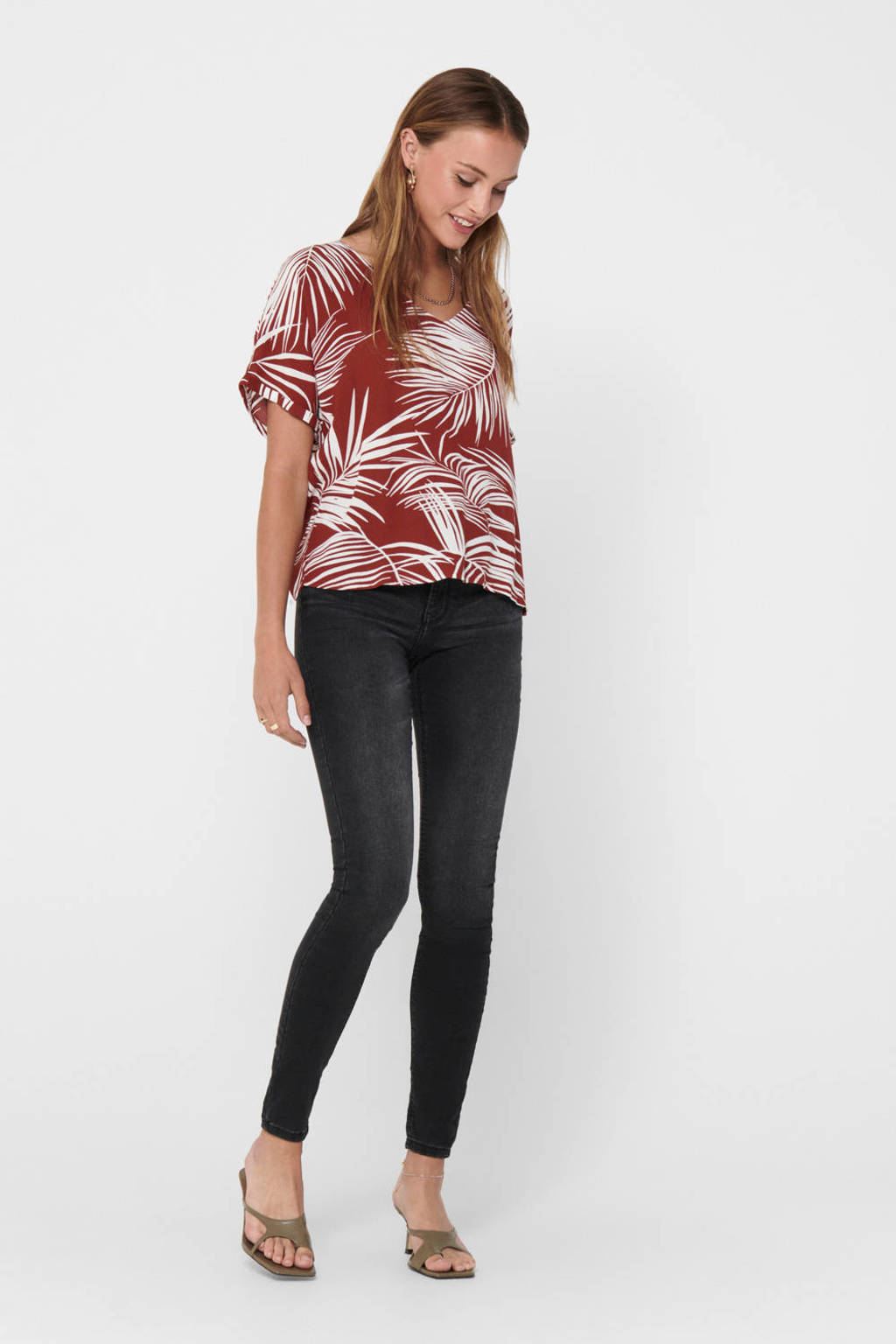 ONLY top Augustina met all over print donkerrood, Donkerrood