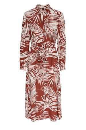 blousejurk Augustina met all over print en ceintuur rood/wit