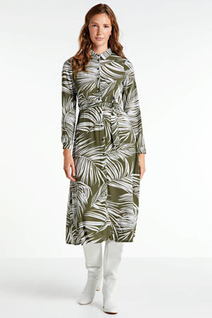 blousejurk Augustina met all over print en ceintuur groen/wit