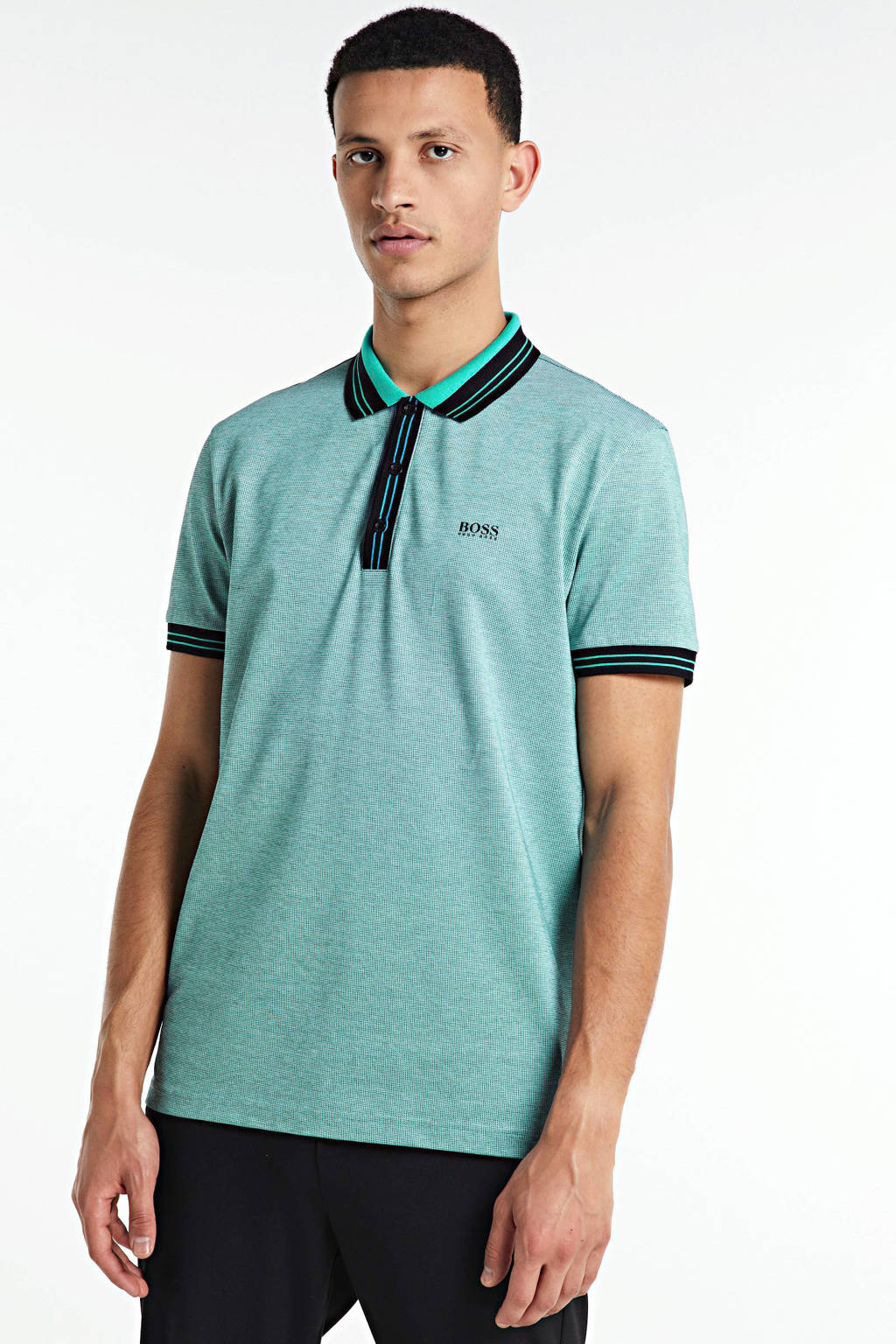 BOSS Athleisure gemêleerde slim fit polo groen, Groen