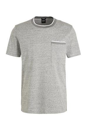 T-shirt met contrastbies grijs melange