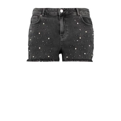 MS Mode jeans short met slijtage zwart