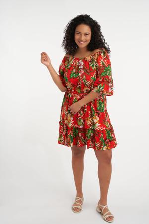 gebloemde semi-transparante off shoulder jurk rood/groen/lichtroze