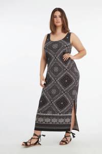 MS Mode maxi jurk met all over print grijs/zwart, Grijs/zwart