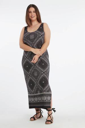 maxi jurk met all over print grijs/zwart