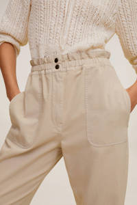 Mango cropped straight fit pantalon beige, Beige