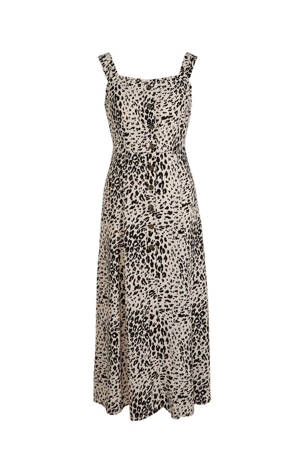 C&A Yessica maxi jurk met panterprint beige/zwart, Beige/zwart