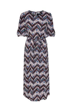 maxi jurk Anna met all over print en ceintuur blauw/wit/bruin