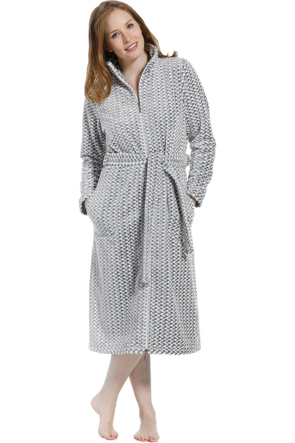 Pastunette fleece badjas met ritssluiting grijs/wit, Grijs/wit