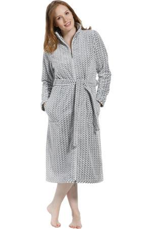 fleece badjas met ritssluiting grijs/wit