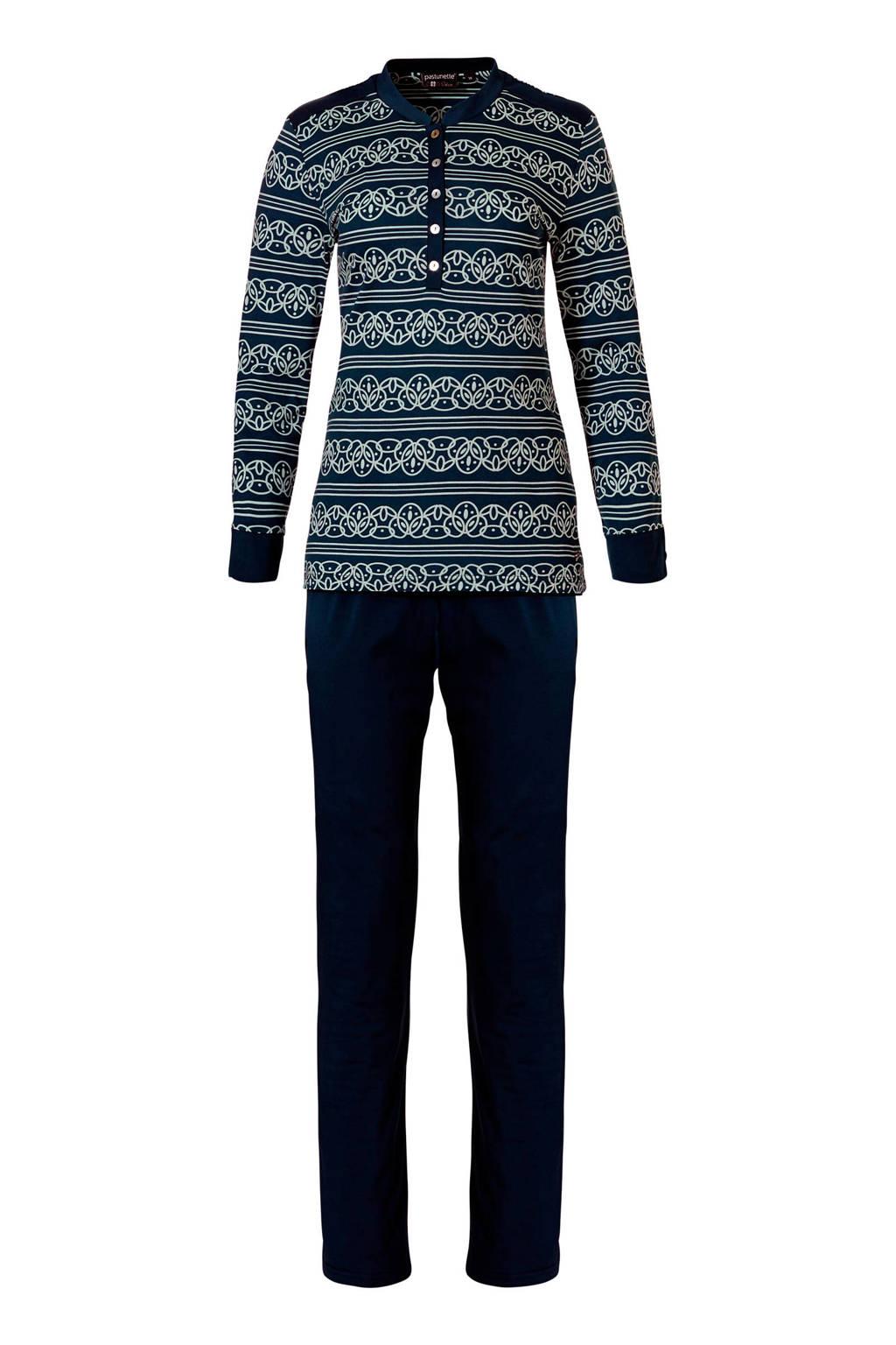 Pastunette Deluxe pyjama met all over print donkerblauw, Donkerblauw