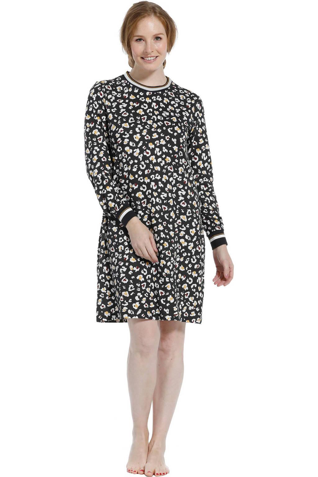 Pastunette nachthemd met all over print donkergrijs/wit, Donkergrijs/wit