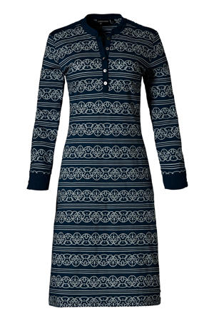 nachthemd met all over print donkerblauw/wit