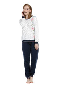 Pastunette pyjama met all over print wit/donkerblauw, Wit/donkerblauw