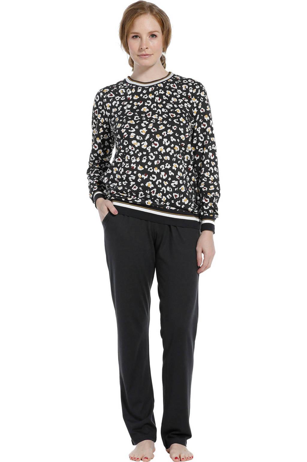 Pastunette pyjama met all over print donkergrijs, Donkergrijs