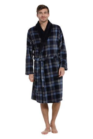 geruite fleece badjas donkerblauw