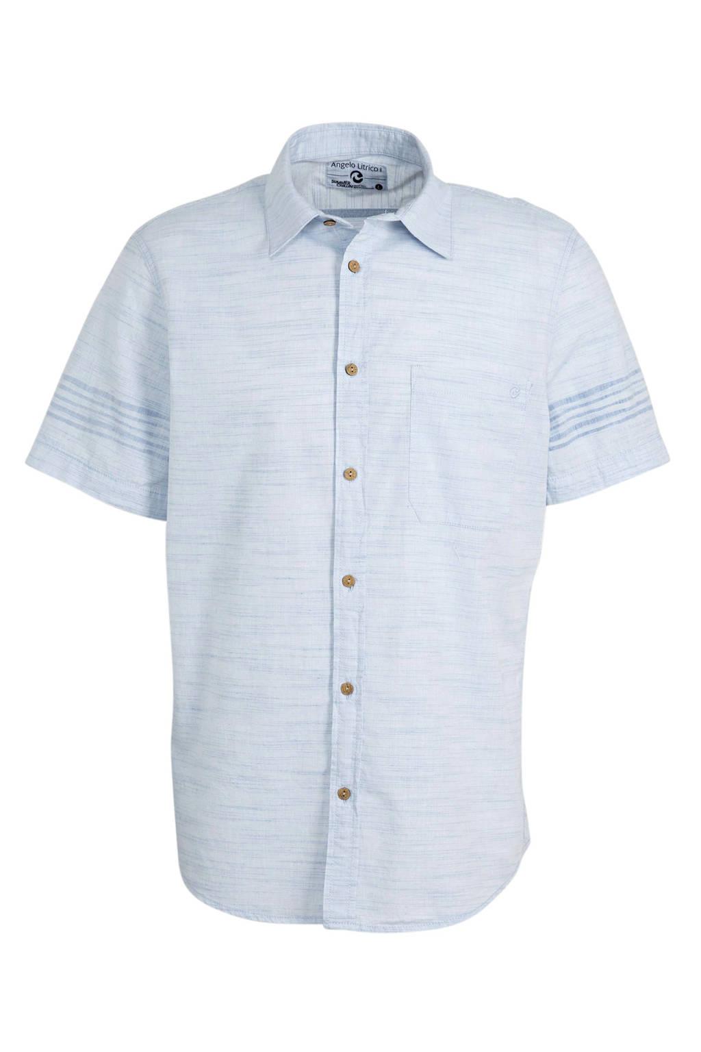 C&A Angelo Litrico gemêleerd regular fit overhemd van biologisch katoen lichtblauw, Lichtblauw