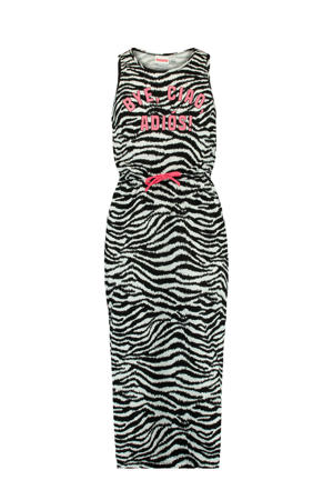 maxi jurk Dacy met zebraprint zwart/wit/roze