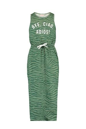 maxi jurk Dacy met zebraprint groen/wit