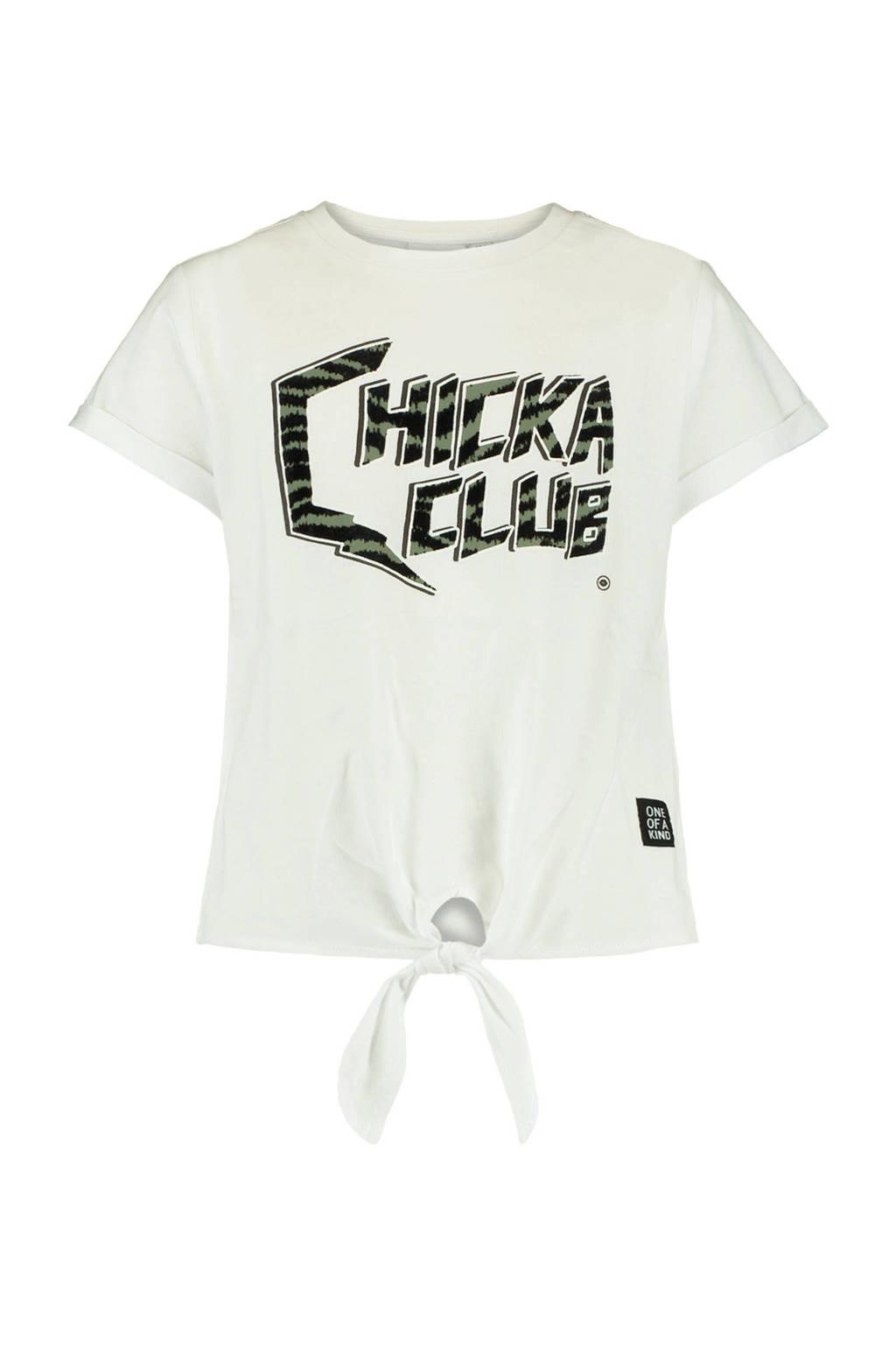 CoolCat Junior T-shirt Ella met tekst wit/zwart, Wit/zwart