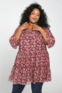 Paprika jurk met all over print en volant donkerrood, Donkerrood