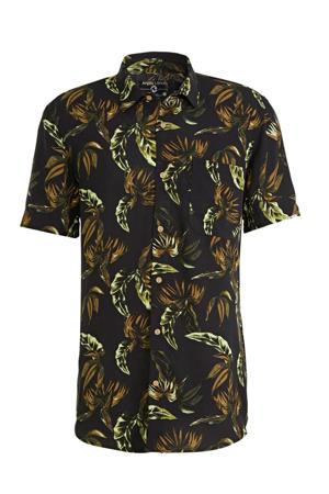 regular fit overhemd met all over print zwart