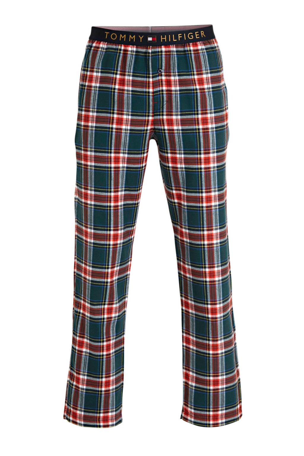 Tommy Hilfiger geruite flanellen pyjamabroek donkerblauw/groen, Donkerblauw/groen