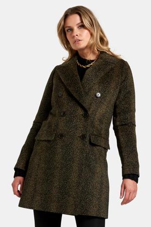coat met dierenprint groen