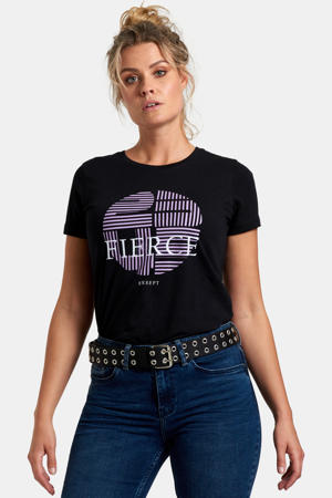 T-shirt met printopdruk zwart/lila