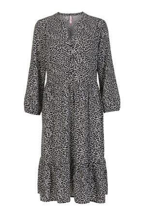 jurk met dierenprint en plooien zwart/wit