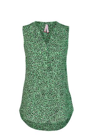 blouse met panterprint groen/zwart/wit