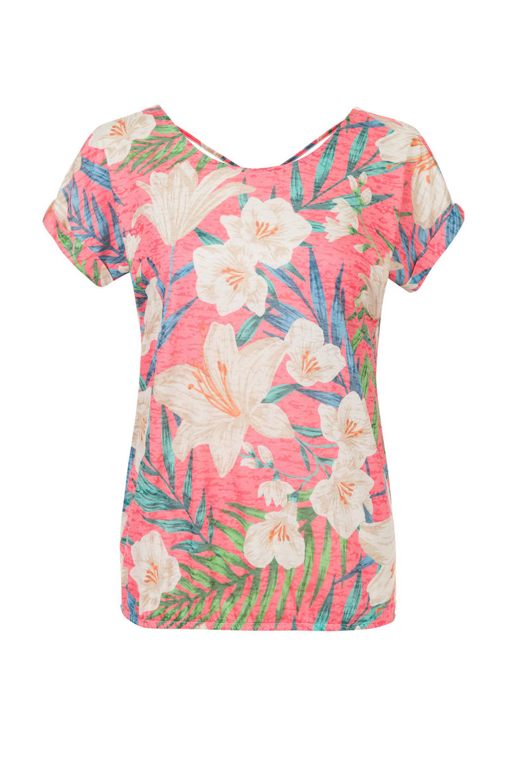 Miss Etam Regulier T-shirt met bladprint roze, Roze