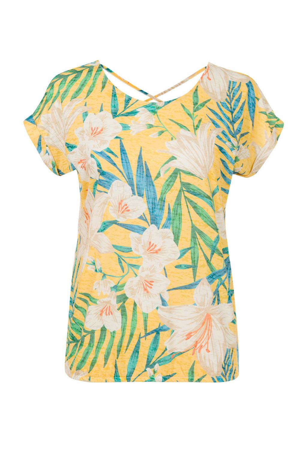 Miss Etam Regulier T-shirt met bladprint geel, Geel