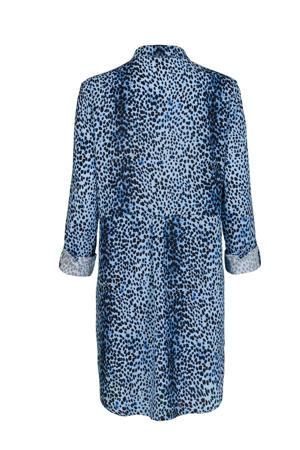 blouse met all over print blauw/zwart