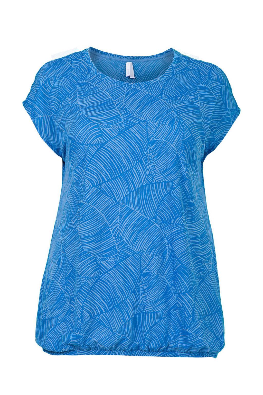 Miss Etam Plus T-shirt met all over print blauw, Blauw