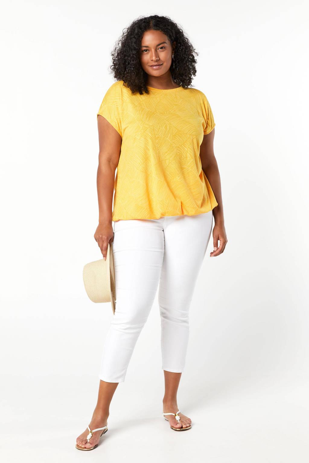 Miss Etam Plus T-shirt met all over print geel, Geel