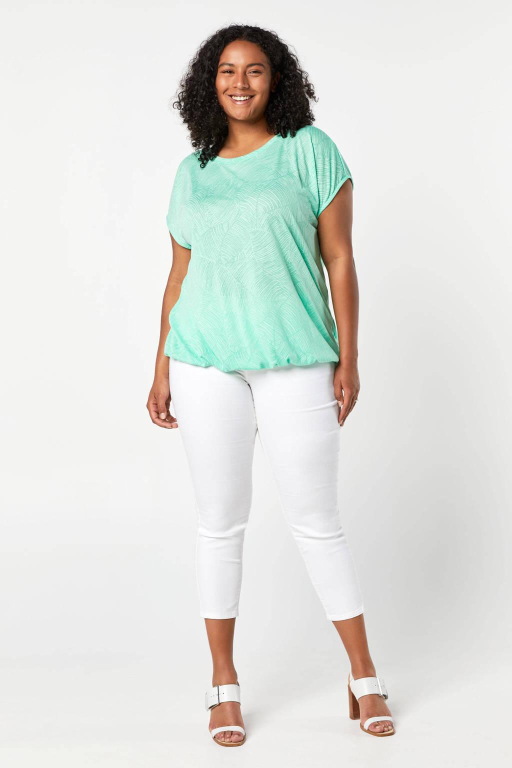 Miss Etam Plus T-shirt met all over print pastelgroen, Pastelgroen