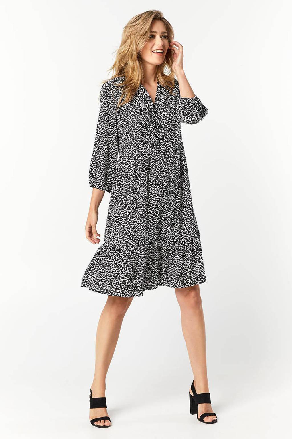 Miss Etam Regulier jurk met all over print en volant zwart/wit, Zwart/wit
