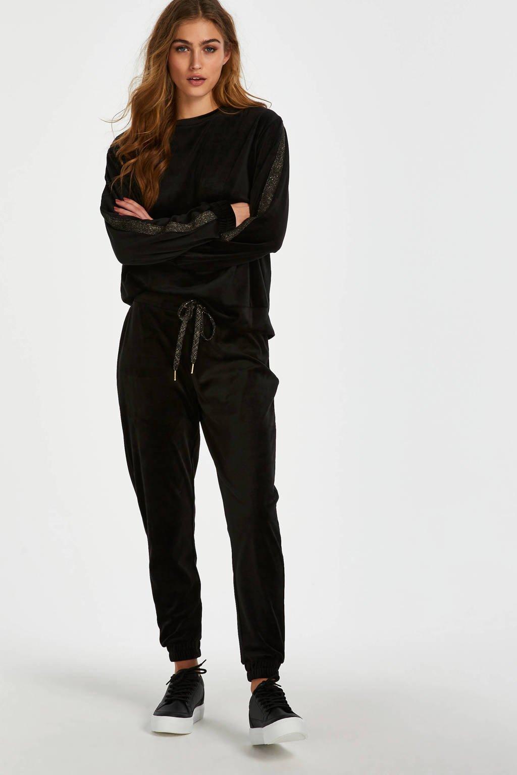 Hunkemöller velours loungebroek zwart, Zwart/goud
