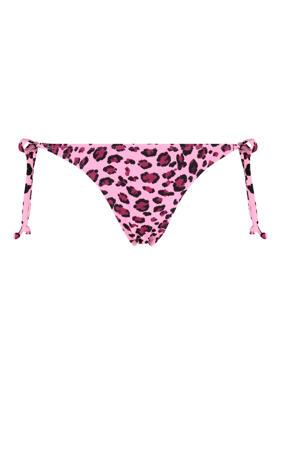 strik bikinibroekje met panterprint Mirage roze