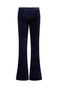 WE Fashion fluwelen flared legging met ribstructuur donkerblauw, Donkerblauw