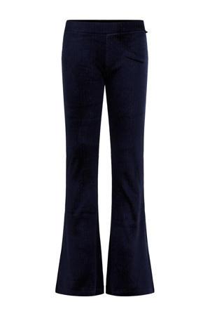 fluwelen flared legging met ribstructuur donkerblauw