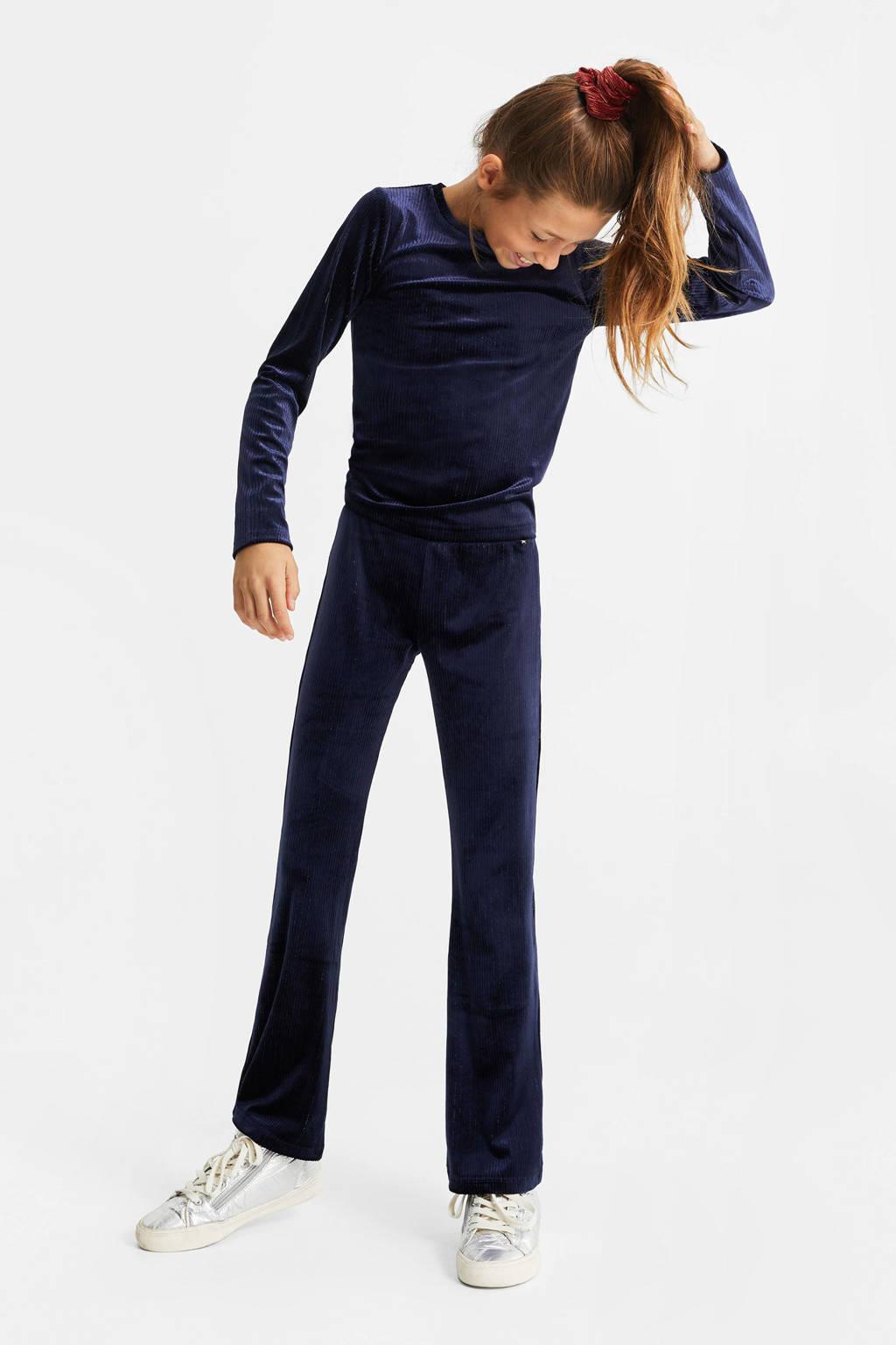 WE Fashion velours top met ingeweven glittergaren donkerblauw, Donkerblauw
