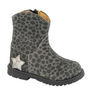 suède laarzen met panterprint grijs